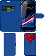 Acm Strap Leather Flip Case Compatible with Micromax Spark Go Mobile Front & Back Cover Blue