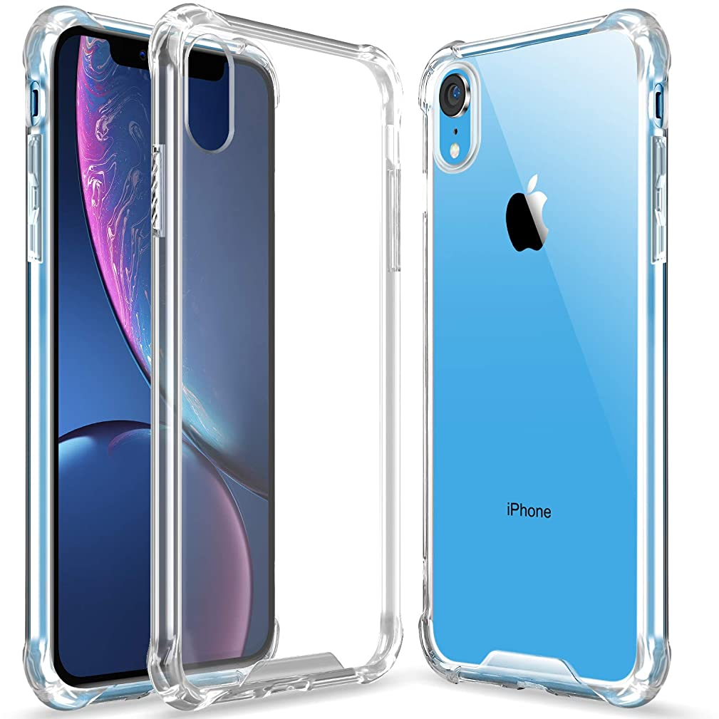 Clear iPhone Xr case, Slim Ultra Crystal Clear Case Hybrid Hard Anti-Scratch Back + Soft Shock Absorption Air Technology TPU Bumper Drop Protective Cover Compatible Apple iPhone Xr - Yellow Pink
