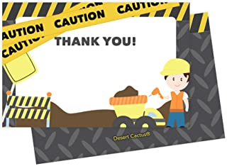 Construction Thank You Cards (25 Count) With Envelopes and Seal Stickers Bulk Birthday Party Bridal Blank Graduation Kids Children Boy Girl Baby Shower (25ct)