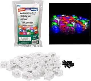 SCS Direct Light Up Building Bricks with On/Off and Dim Ability- Multicolor Lights of 40 Pieces - Tight Fit with All Major Brands