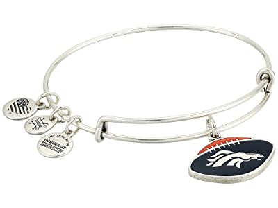 Alex and Ani Color Infusion Denver Broncos Football II Bangle (Rafaelian Silver) Bracelet
