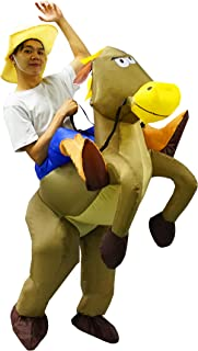 Halloween Inflatable Costumes Adult Men Women Horse Cowboy Cowgirl Suit Brown