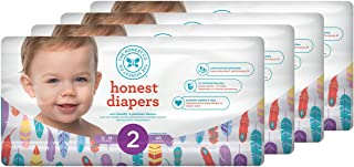 Honest Baby Diapers, Painted Feathers, Size 2 (160 Count)