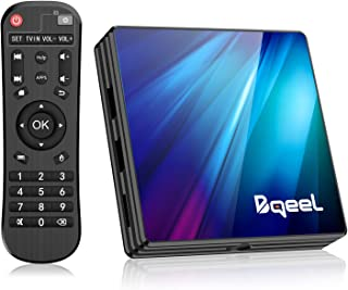 Bqeel Android TV Box 9.0 4GB RAM 64GB ROM, R1 Plus Android Box RK3318 Quad-Core 64bits Dual-Band WiFi 2.4G/5G BT 4.0 3D 4K Ultra HD H.265 USB 3.0 Smart TV Box