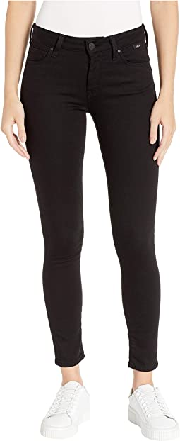 Adriana Mid-Rise Super Skinny Jeans in Double Black Tribeca