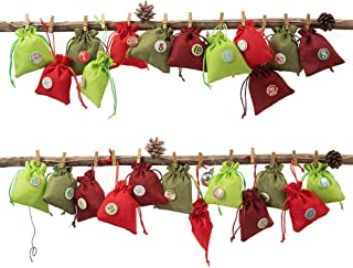 Advent Calendar Gift Bags Countdown Advent Calendar Garland Sacks Christmas Countdown 2020 Gift Bags with Drawstring Small Jewelry Bags Pouches Sacks Christmas Party Favor Bags with 24 Wood Number But