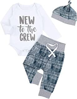 Newborn Baby Boy Clothes New to The Crew Letter Print Romper Long Pants Hat 3PCS Outfits Set Breathable and Soft