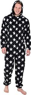 XSS Men's Black/White Stars Fleece All in One PJs Sleepsuit Onesie Nightwear-M Pajama Set, Neutral, Size