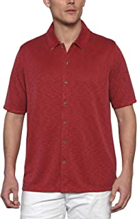 Woody's Retro Lounge Men's Comfort Camp Shirt - Full Button-Front Closure Short Sleeve