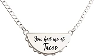 Taco Necklace – You Had Me at Tacos Pendant – Cute Charm Gift for Any Friend Who Loves Tacos – in Gold and Silver