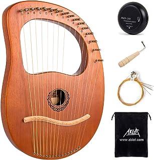 AKLOT 16 metalowych strings Lyre harfe mahoń Lye harfy z kluczem do strojenia Pick UP dodatkowe struny Black Gig Bag…