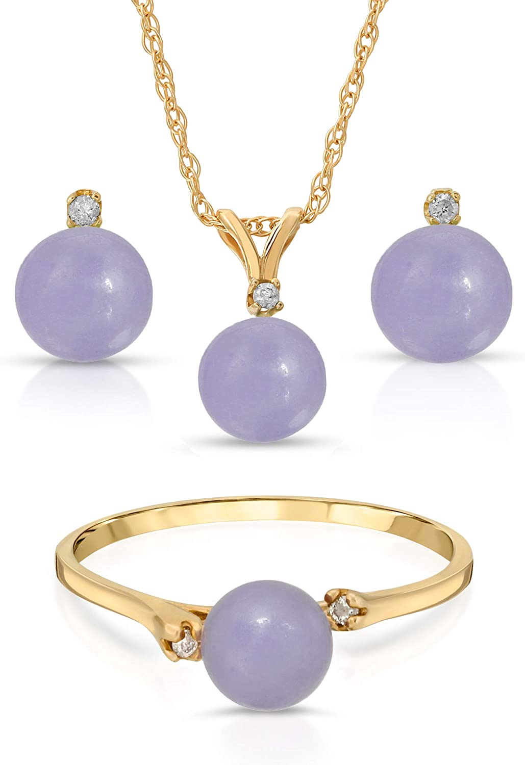 Regalia by Ulti Ramos 14K Yellow Gold Real Jade in Lavender Color 3pc Set with .05cts of White Diamond