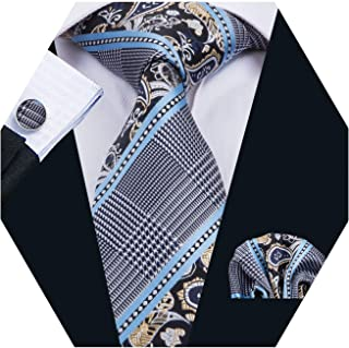 Mens Plaid Check Silk Necktie Set Formal Tie Pocket Square Cufflinks Set