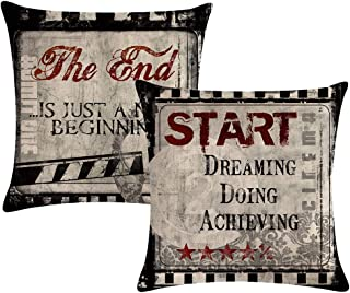 ULOVE LOVE YOURSELF Movie Theater Throw Pillow Covers Vintage Cinema Poster Design Cushion Cover Home Decorative Pillowcases 18 X 18 Inches,2Pack (Cinema Inspirational Quote)