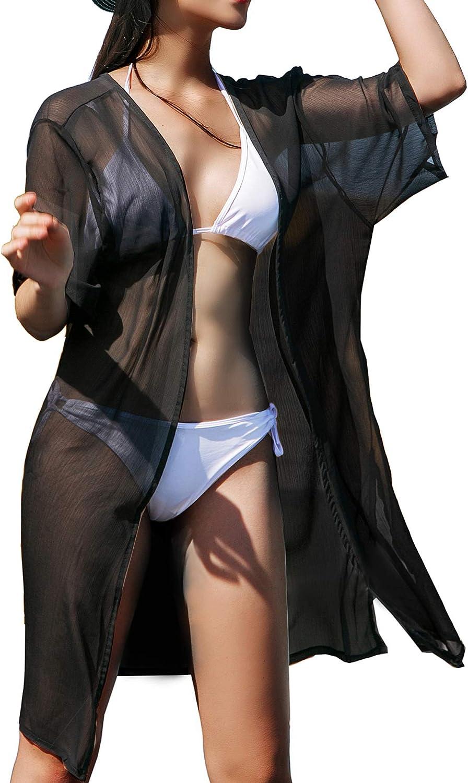 LA CARRIE Women's Chiffon Kimono Cardigan Cover Up with Half Sleeve Summer Sheer Beachwear Swimsuit for Bikini
