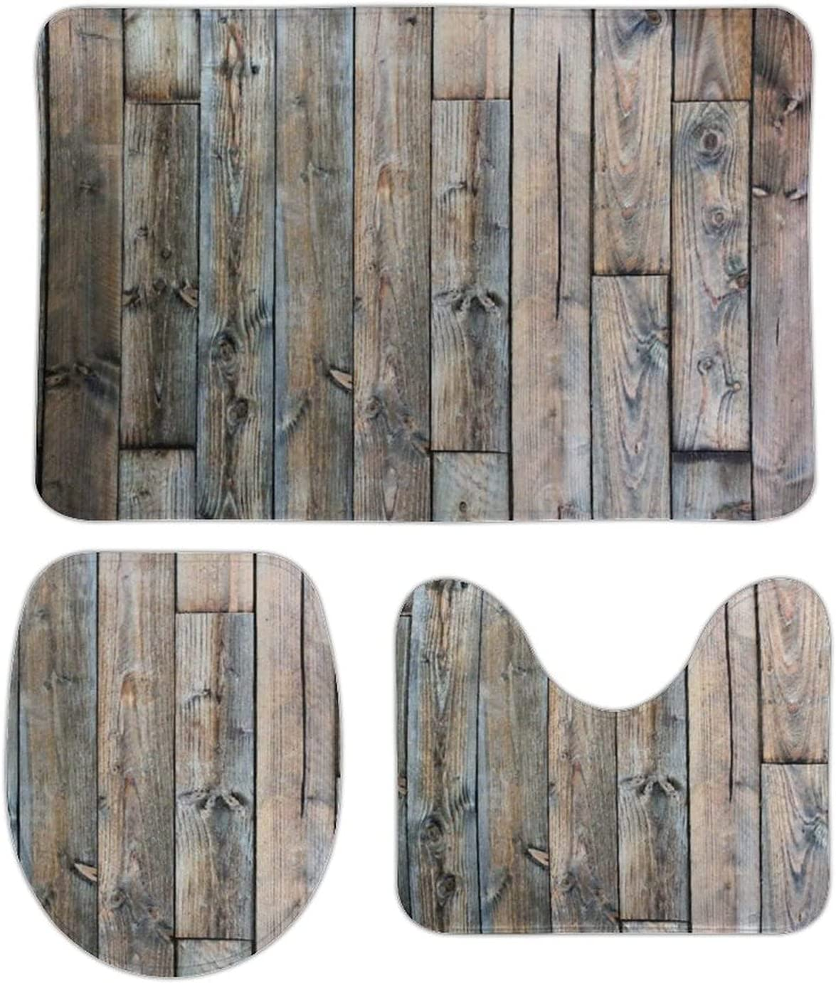 Bathroom Rugs Set 3 Pieces 5 ☆ popular Barnwood Same day shipping Placemats Rustic - Bath