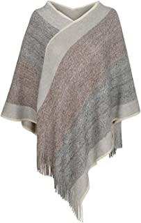 Women's Elegant Knitted Shawl Poncho with Fringed V-Neck...