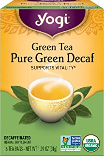 Yogi Tea - Green Tea Pure Green Decaf (6 Pack) - Supports Vitality - 96 Tea Bags
