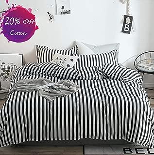 karever Black White Striped Duvet Cover Set Queen Kids Cotton Bedding Full Black Vertical Ticking Stripes Pattern Printed on White Comforter Cover Set for Boys Girls Teens