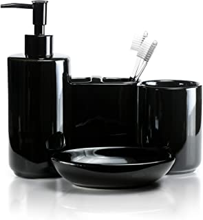 Willow&Ivory Bathroom Accessories Set   4 Piece, Black Ceramic Bath Set   Toothbrush Holder, Soap Dispenser, Soap Dish, Tumbler   Onyx Collection