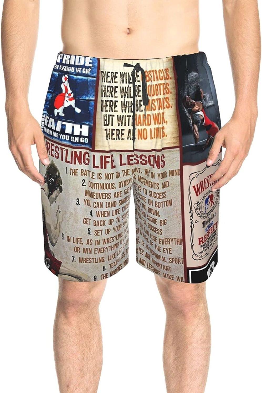 JINJUELS Men's Swim Trunks Wrestling Life Lessons Beachwear Board Shorts Fast Dry Fashion Surf Beach Shorts with Lining