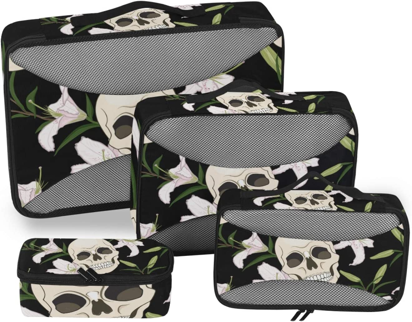 Skull White Lily Packing Cubes Organizer 4 years warranty Travel 4-Pcs Very popular Accessorie