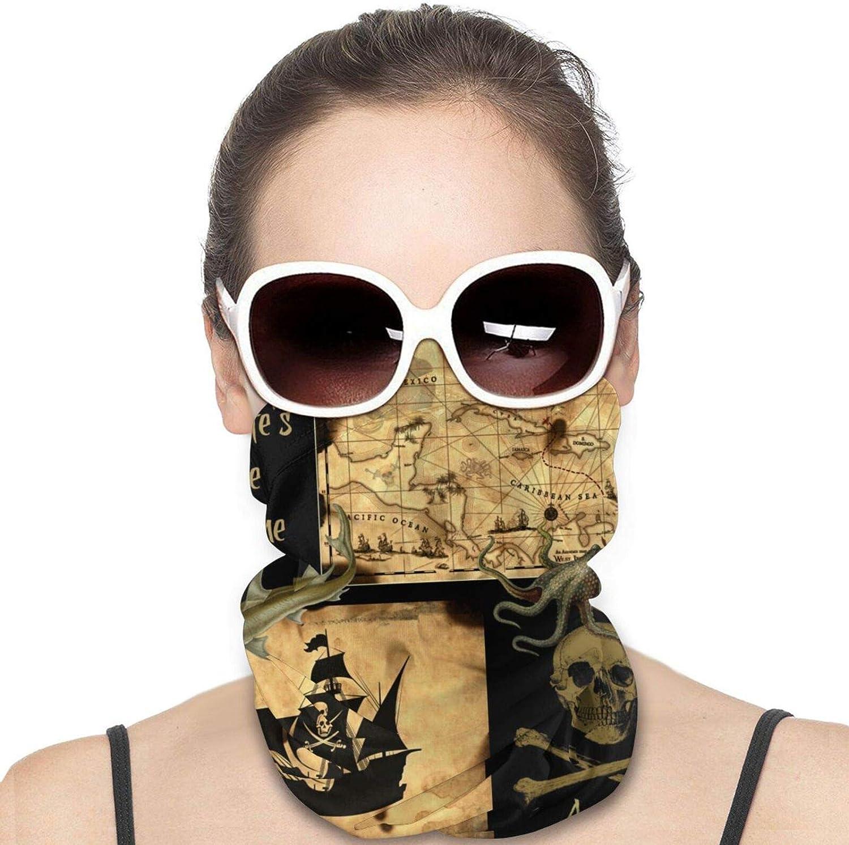 Pirate Ship Sea Ocean Neck Gaiter Windproof Face Cover Balaclava Outdoors Magic Scarf Headband for Men Women Motorcycling Fishing Running Climbing