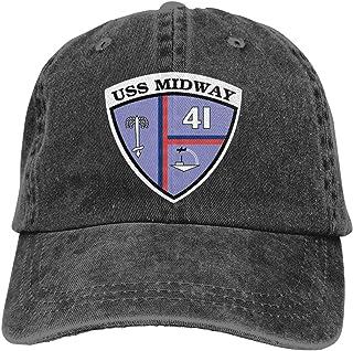 fefaab61 Navy USS Midway CV-41 Vinyl Transfer Summer Cool Heat Shield Unisex Adult  Cowboy Hat