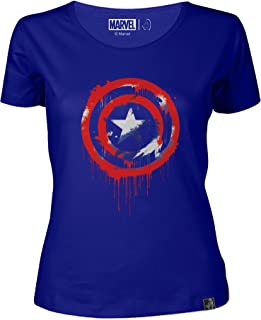 Marvel: Captain America Streetart Shield Women's Round Neck T-Shirt Royal Blue