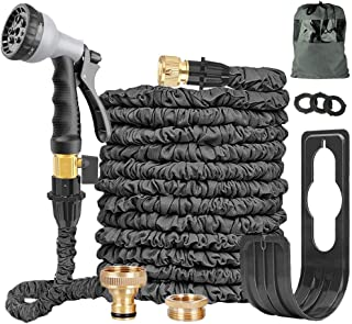 Expandable Garden Hose Pipe 100FT Expanding Water Hose 8 Function Spray Gun Double Latex Inner Tube Solid Brass Fittings N...