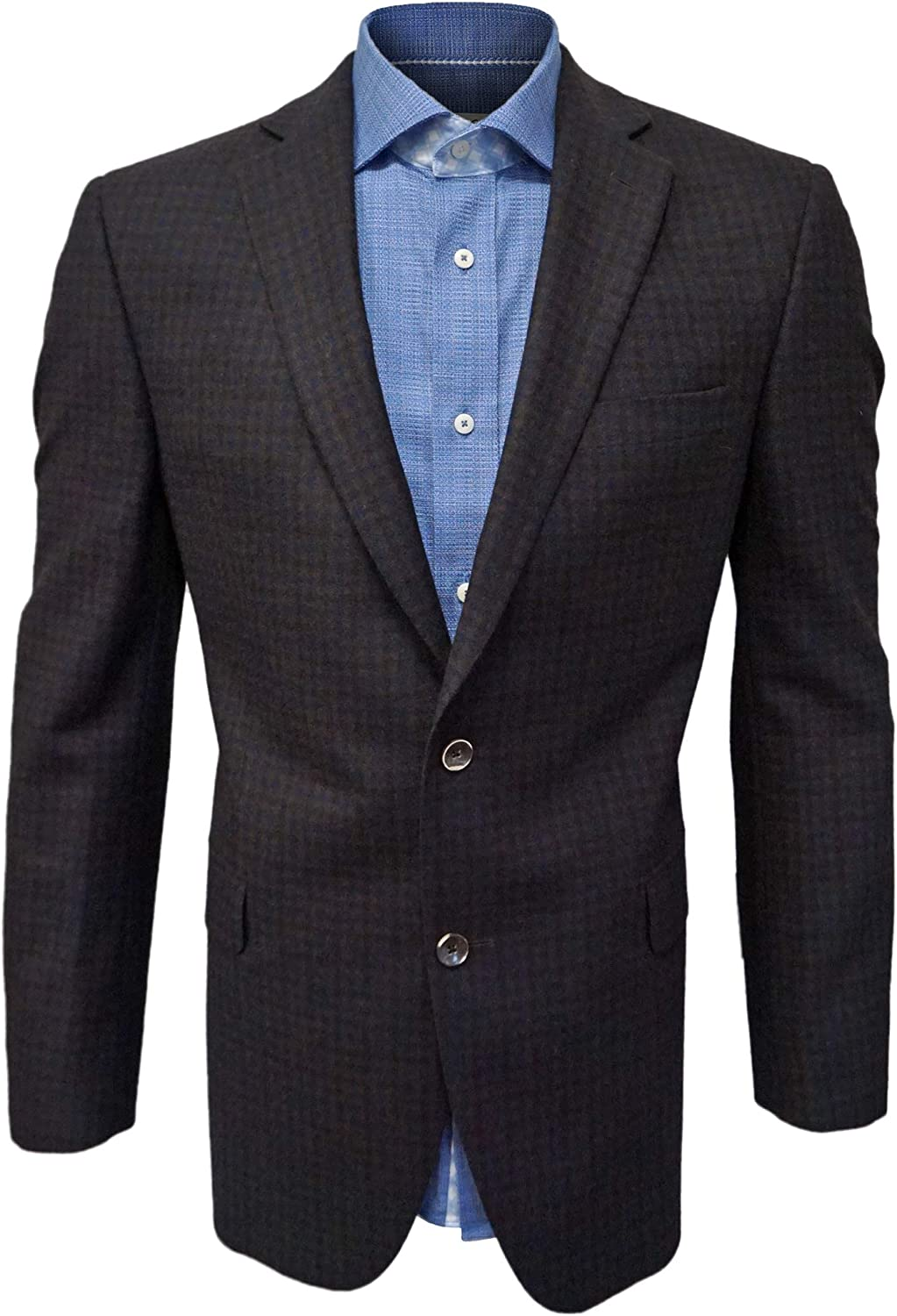 Jack Victor Brown & Navy Blue Blazer, 100% Wool, Two Button, Single Breasted