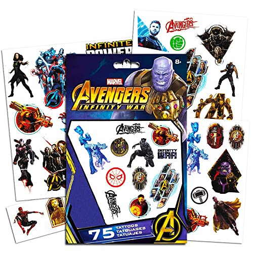46196453fe9c1 Marvel Avengers Temporary Tattoos Party Set (75) -- Avengers Infinity War  Tattoos Featuring