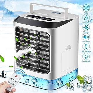 Aire Acondicionado Portátil, Mini Enfriador de Aire, 4 en 1 Mini Ventilador Humidificador Purificador, USB Air Cooler con 3 Velocidades y 7 Colores LED Luz,con Control remoto, para hogar y Oficina