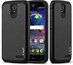 J&D Case Compatible for ZTE Grand X3 Case, ZTE Wrap 7 Case, Heavy Duty [Dual Layer] Hybrid Shock Proof Protective Rugged Bumper Case for ZTE Grand X3 Case, ZTE Wrap 7 (2016 Released) Case - Black