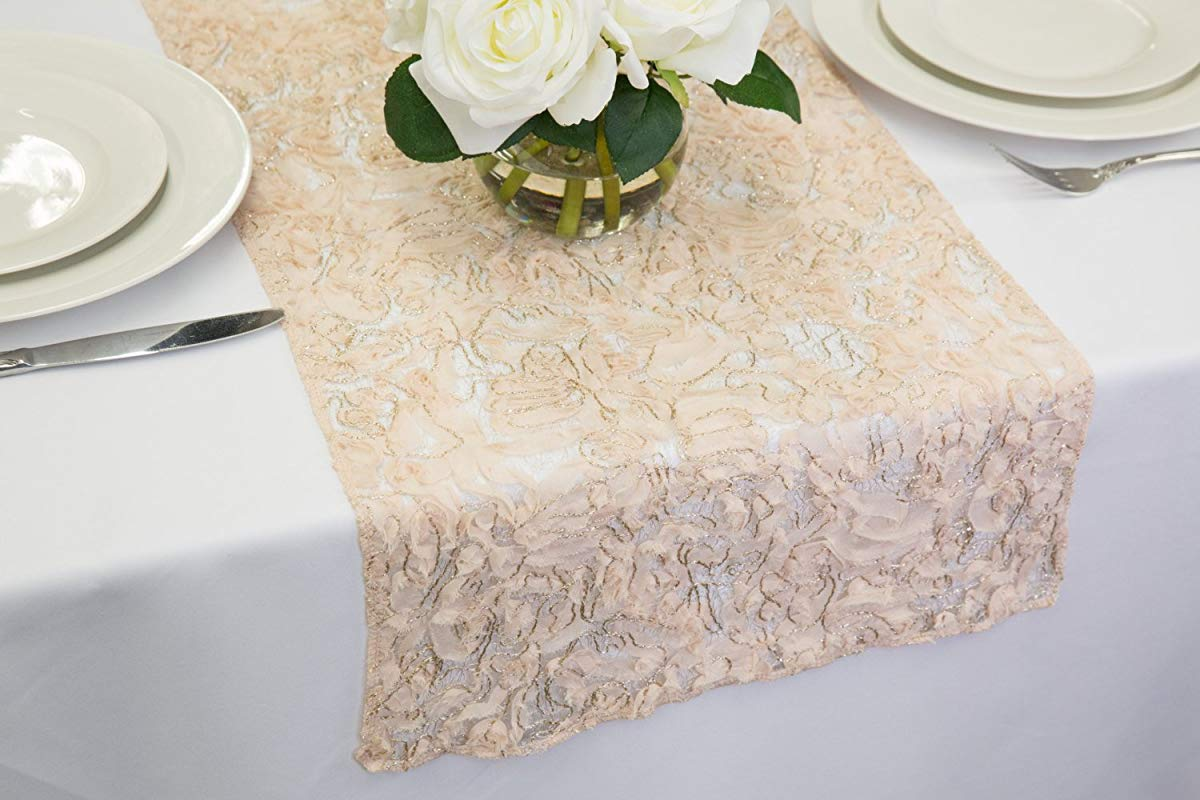 Champagne Enchanted Lace Sheer Table Runner 14 X 84 Inches