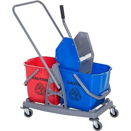 Chariot de lavage chariot de nettoyage professionnel presse à mâchoire 2 seaux 25 L 73L x 45l x 92H cm plastique gris bleu rouge