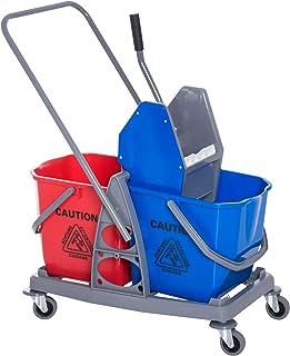 Chariot de lavage chariot de nettoyage professionnel presse à mâchoire 2 seaux 25 L 73L x 45l x 92H cm plastique gris bleu...
