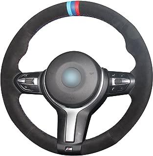 JI Loncky Black Suede Steering Wheel Cover for BMW 228i 230i 320i 328i 330i 335i 340i 428i 430i 435i 440i 525i 535i 550i 640i 650i