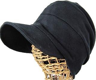 抗がん剤帽子 オーガニック 医療用帽子/段々キャスケット 黒/医療帽子プレジール