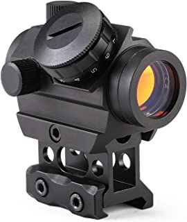 Pinty 1x25mm Tactical Red Dot Sight with Riser Mount for Cowitness with Iron Sights 3-4 MOA Compact Red Dot Scope