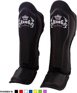 KINGTOP Top King Muay Thai Shin Pads TKSGP GL Shin Guards Pro Genuine Leather - Black White Red Blue Green Pink size: S M L XL, Shin Protection for Muay Thai Kick Boxing MMA K1