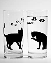 Cats and Paws Everyday Drinking Glass - Set of 2 Glasses, Cat Lover Gift, Highball Bar Glassware