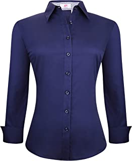 Esabel.C Womens Button Down Shirts Long Sleeve Regular Fit Cotton Stretch Work Blouse