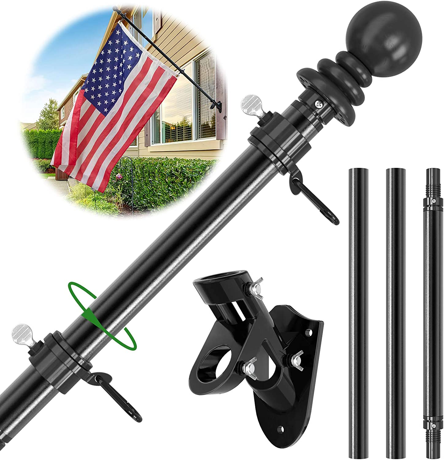 Flag Pole Long-awaited Kit 5 FT House Outdoor Aluminum for Max 49% OFF Metal