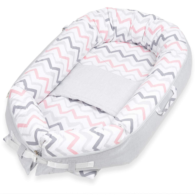 Unisex Newborn Support Pillow Lounger Pillow Comfort Baby Nest Portable Head Support Pillow Prevent Flathead Reflux Baby Pillow Sleeping for 0-12 Months