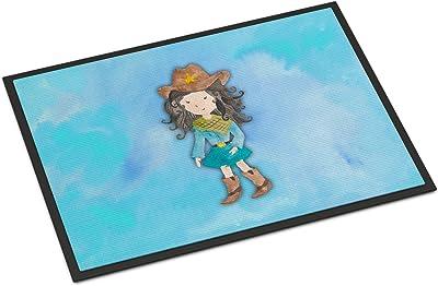 """Caroline's Treasures Cowgirl Watercolor Doormat, 24""""H x 36""""W, Multicolor"""