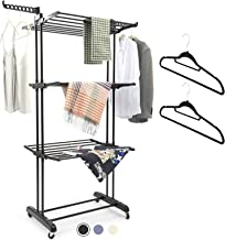 MIZGI Clothes Drying Rack,3 Tier Rolling Dryer Clothes Hanger,Collapsible Garment Laundry Rack with Foldable Wings and Cas...