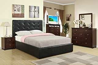 Poundex Queen Bed With High Headboard Upholstered in Dark Espresso Faux Leather, Multi