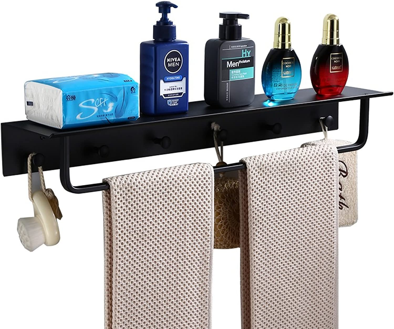 LS-Bathroom Shelf Black Space Aluminum Bathroom Shelf Bathroom Shelf Bathroom Shelf Hook 500mm  70mm  120mm Easy Assembly