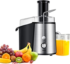 Jiachi 1000W NaturoPure Powerful Whole Fruit and Vegetable Juice Extractor, Centrifugal Juicer Machine with 2 Speed Settings, BPA-Free, 75MM Wide Mouth with 1L Juice Jug & 2L Pulp Container